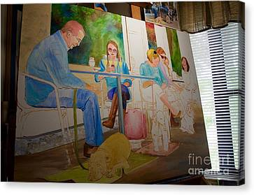 Painting Dogs On Park Avenue Canvas Print