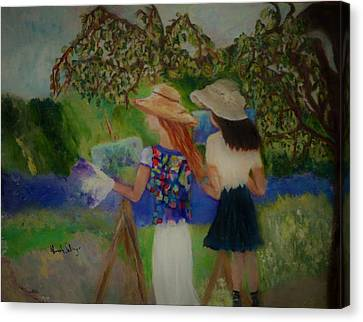 Canvas Print featuring the painting Painting In France by Aleezah Selinger