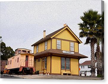 Painting Oceano Depot Museum Canvas Print by Barbara Snyder