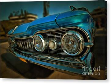 Painting Of 1959 Oldsmobile Dynamic 88 Canvas Print by George Atsametakis