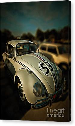 Painting Of 1963 Volkswagen Herbie With Toy Car On Roof Canvas Print by George Atsametakis