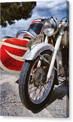 Ornament Canvas Print - Painting Of A 1951 Puch 250 Tf Bj by George Atsametakis
