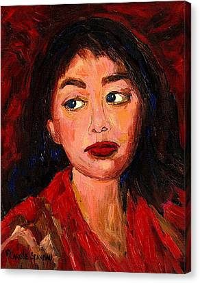 Painting Of A Dark Haired Girl Commissioned Art Canvas Print by Carole Spandau