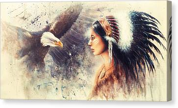 Painting Of A Young Indian Woman Wearing A Gorgeous Feather Headdress. With An Image  Eagle Spirits  Canvas Print