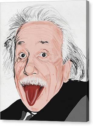 Painting Of Albert Einstein Canvas Print by Setsiri Silapasuwanchai