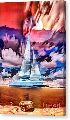 Canvas Print featuring the photograph Painting Of Boats In Red Sunset Colors by Odon Czintos