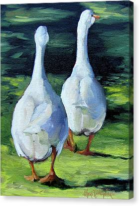 Painting Of Ducks Waddling Home Canvas Print by Cheri Wollenberg