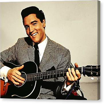 Painting Of Early Young Elvis With Guitar Canvas Print by Elaine Plesser
