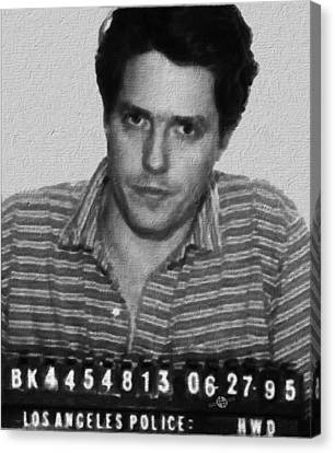 Painting Of Hugh Grant Mug Shot 1995 Black And White Canvas Print