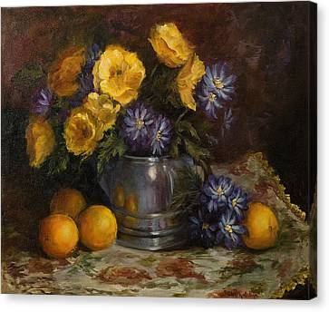 Painting Of Oranges And Poppies Canvas Print by Cheri Wollenberg