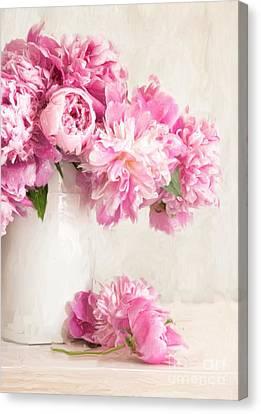 Painting Of Pink Peonies In Vase/digital Painting   Canvas Print