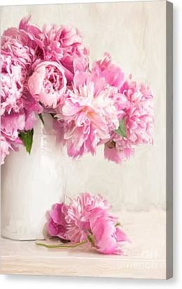 Painting Of Pink Peonies In Vase/digital Painting   Canvas Print by Sandra Cunningham