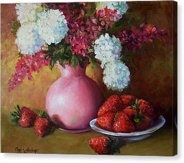 Painting Of Pink Pitcher And Strawberries Canvas Print by Cheri Wollenberg