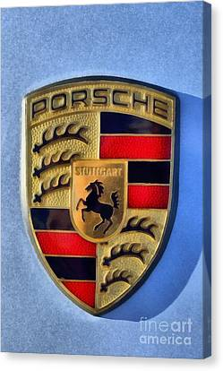 Painting Of Porsche Badge Canvas Print by George Atsametakis