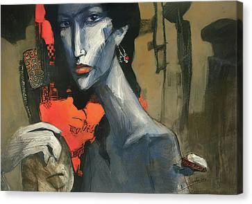 Painting Of The Lady _ 1 Canvas Print by Behzad Sohrabi