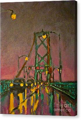 Painting Of Traffic On Wet Bridge Deck At Night Canvas Print by John Malone