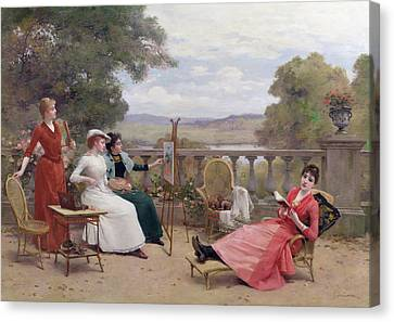 Painting On The Terrace Canvas Print by Jules Frederic Ballavoine