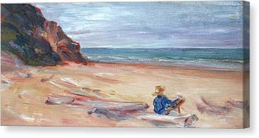 Painting The Coast - Scenic Landscape With Figure Canvas Print by Quin Sweetman
