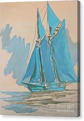 Bluenose Canvas Print - Painting The Preliminary Steps by John Malone