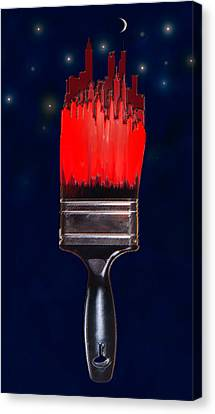 Painting The Town Red Canvas Print by Jane Schnetlage