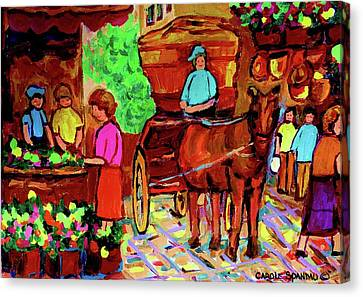 Paintings Of Montreal Streets Old Montreal With Flower Cart And Caleche By Artist Carole Spandau Canvas Print by Carole Spandau