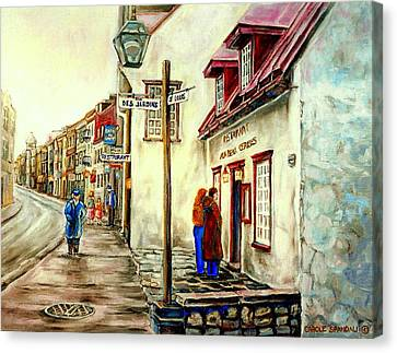 Autumn Soup Canvas Print - Paintings Of Quebec Landmarks Aux Anciens Canadiens Restaurant Rainy Morning October City Scene  by Carole Spandau