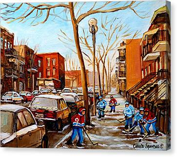 Paintings Of Verdun Streets In Winter Hockey Game Near Row Houses Montreal City Scenes Canvas Print by Carole Spandau