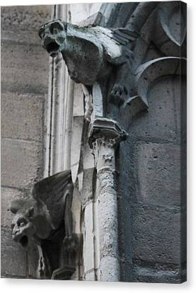 Canvas Print featuring the photograph Pair Of Griffons Of Notre Dame by Christopher Kirby