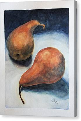 Canvas Print featuring the painting Pair Of Pears by Rachel Hames