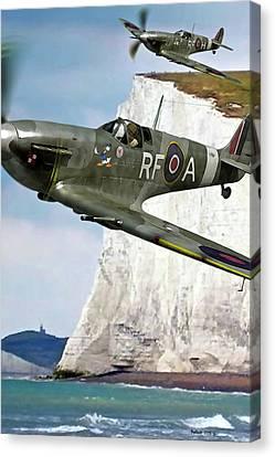 Pair Of British Supermarine Spitfires Donald Duck Nose Art Canvas Print