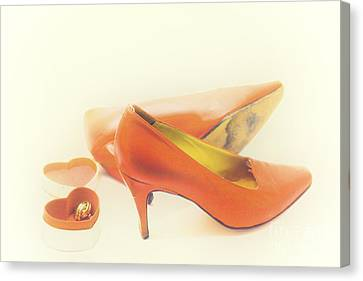 Pair Of Red High Heeled Shoes Canvas Print by Patricia Hofmeester