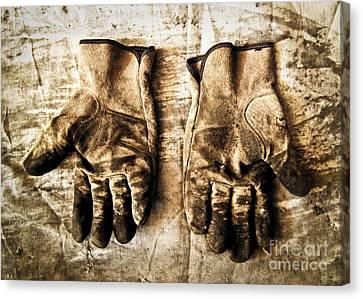 Pair Of Work Gloves In Monotone Canvas Print by Emilio Lovisa