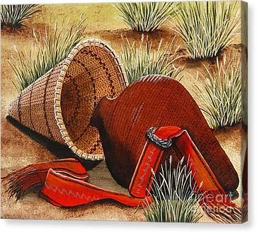 Canvas Print featuring the painting Paiute Baskets by Jennifer Lake