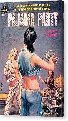 Canvas Print featuring the painting Pajama Party by Paul Rader