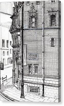 Lamp Post Canvas Print - Palace Hotel Oxford Street Manchester by Vincent Alexander Booth