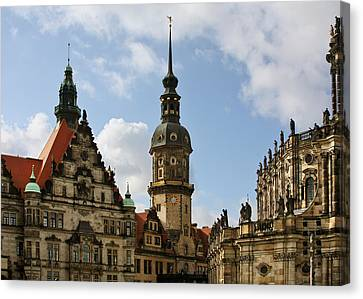 Palace Square In Dresden Canvas Print by Christine Till
