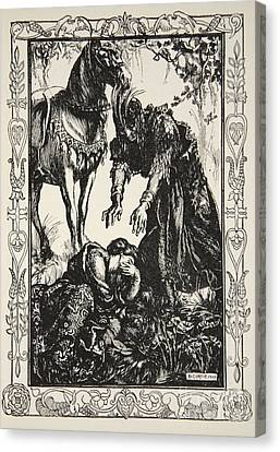 Arthurian Legend Canvas Print - Palamides Appeared Before Her by Dora Curtis