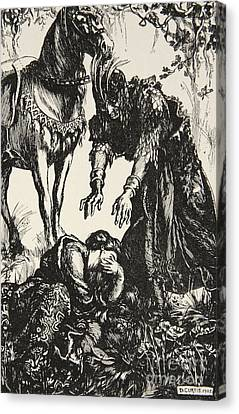 Arthurian Legend Canvas Print - Palamides Appeared Before Isolde by Dora Curtis