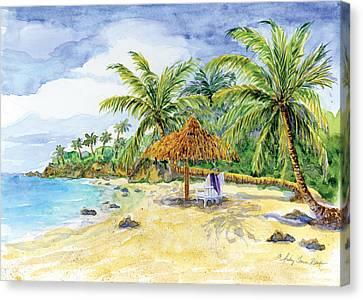 Palappa N Adirondack Chairs On A Caribbean Beach Canvas Print