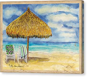 Palappa N Adirondack Chairs On The Mexican Shore Canvas Print by Audrey Jeanne Roberts