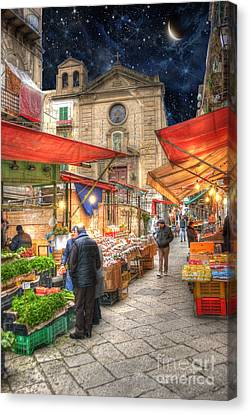 Palermo Market Place Canvas Print by Juli Scalzi