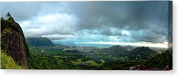 Canvas Print featuring the photograph Pali Lookout Dawn by Dan McManus