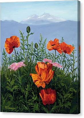 Pallet Knife Poppies Canvas Print by Mary Giacomini