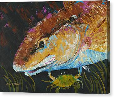 Pallet Knife Redfish And Blue Crab Canvas Print
