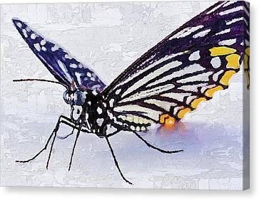 Canvas Print featuring the digital art Pallete Knife Painting Blue Butterfly by PixBreak Art
