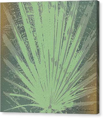 Palm Frond Green Gold Canvas Print