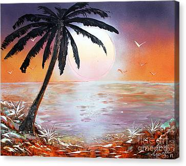 Canvas Print featuring the painting Palm by Greg Moores