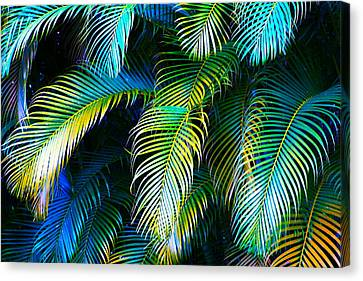Palm Leaves In Blue Canvas Print