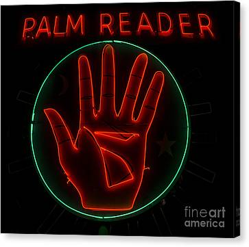 Palm Reader Neon Sign Canvas Print by Mindy Sommers
