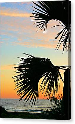 Palm Silhouette Canvas Print by Kristin Elmquist